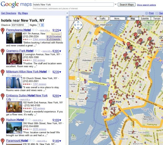 Google Map Hotel Price
